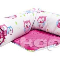 Kapri kocyk minky sowy na różowym